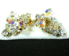 Delizza & Elster Crystal Earrings Vintage Rhinestone Juliana Clip On.