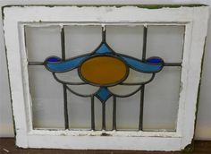 """OLD ENGLISH LEADED STAINED GLASS WINDOW Magnificent Oval design 21.5"""" x 17"""""""