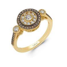 NEW LAFONN DESIGNER RING .74cttw SIMULATED DIAMOND STERLING SILVER w/ YELLOW GP #LAFONN #Cluster
