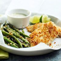 Fish and Green Beans with Wasabi Mayonnaise - a light dinner with some crunch