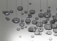 Nendo  FARMING-NET LAMPS  2011  Polypropylene  Dia 10 H 18 cm or Dia 16.5 H 13 cm or Dia 25 H 20 cm or Dia 35.5 H 28 cm
