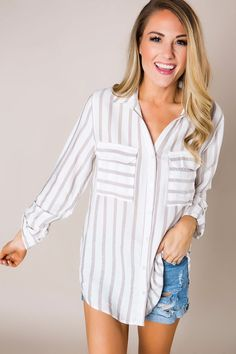 0572a1eab34 People also love these ideas. Taupe Striped Button Down - Dottie Couture  Boutique