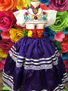 Mexican Purple China Oaxaca SKIRT ONLY day of the dead Handmade- Beautiful Frida Kahlo style- boho hippie KID cocotheme 70 mexican wedding Mexican Costume, Mexican Outfit, Mexican Dresses, Hippie Kids, Hippie Boho, Baby Pageant Dresses, Mexican Babies, Fiesta Dress, Bohemian Style Clothing