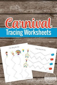 FREE Carnival Prewriting Tracing Worksheets - these free printable pages are super cute and perfect to help toddler, preschool, and prek children practice holding a pencil and refining fine motor skills. **We use these as scissor practice! Carnival Theme Activities, Carnival Crafts, Pre K Activities, Carnival Themes, Sensory Activities, Circus Crafts Preschool, Free Preschool, Toddler Preschool, Daycare Crafts