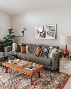 Our Budget Friendly Mid-Century Kitchen Makeover - Dream Green DIY Eclectic Living Room, Boho Living Room, Cozy Living Rooms, Living Room Grey, Living Room Interior, Kitchen Interior, Dark Grey Sectional, Modern Sectional, Living Room Sectional