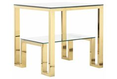 Percy Bunching Side Table, Malachite - Side Tables - Living Room - Furniture | One Kings Lane
