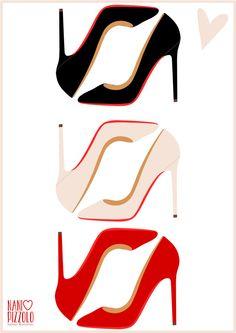 Christian Louboutin, shoes, fashion, moda, drawing, printables @ Nani Pizzolo