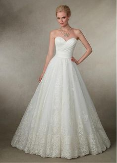 Buy discount Fabulous Tulle & Satin Sweetheart Neckline A-line Wedding Dresses With Lace Appliques at Dressilyme.com