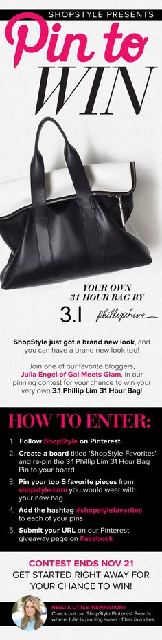 Pin this the 3.1 Phillip Lim 31 Hour bag pin on your Shopstyle favorites board! #shopstylefavorites Pin it to Win with Shopstyle!