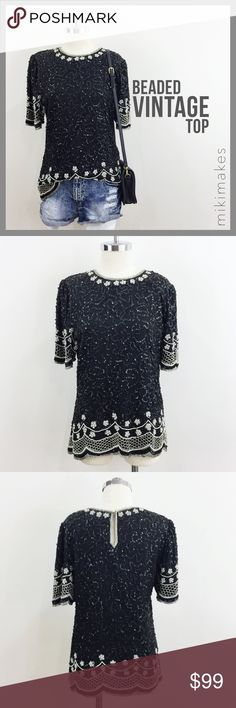 0e3eca5c31c84 Vintage Laurence Kazar beaded pearl sequin top • What s black and white and  beaded all over … This beautiful vintage top from designer Laurence Kazar  ...
