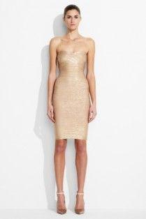 #HerveLeger Golden Foil Print Strapless Bandage Dress
