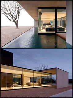 Arquitectura en Bélgica. Minimalismo, terraza y piscina incoporados.