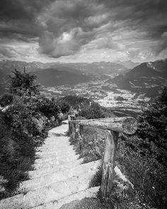 Taken with a Canon EOS 70D and a Tamron 10-24mm. #viewbugfeature #blackandwhite #blackandwhitephotography #monochrome #landscape #path #light #greyscale #contrast #alps #mountains #photograph #photo #photograpy #travel #germany #bayern #bavaria #berchtesgaden #journey #shadows  #perspective #stairs #steps #clouds #sky #dramatic #europe