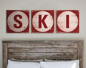 Wood Sign Made to Order  - TRIPTYCH S-K-I (3) 16 X 16. $142.00, via Etsy.