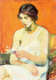 A reading girl (1912). Magnus Enckell (Finnish, 1870–1925). The years in Italy in the 1890s gave Enckell's work a greater range of colors and a more optimistic foundation. In the first years of the 20th century, under the influence of Post Impressionism, he developed a brighter, more colorful palette. Enckell founded the group 'Septem' in which artists who shared his beliefs came together.