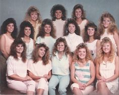 1980/early 1990s hair....curled half the bangs down, half up and wings....so much hair spray...I could have been any of the girls here who have bangs down, lol.