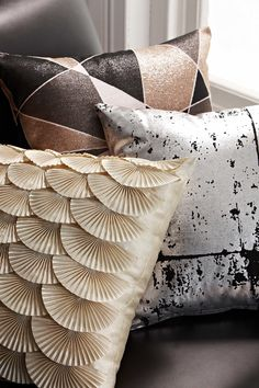 On trend with the brass and metallic look of 2013, the Coco cushion range from Rapee uses abstract motifs, geometric patterns and metallics to compliment a sleek interior.
