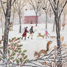 """Walk in Winter"" Suffolk Original Paintings For Sale Winter Illustration, Illustration Art, Original Paintings For Sale, Photo Images, Winter Art, Naive Art, Whimsical Art, Illustrations, Christmas Art"