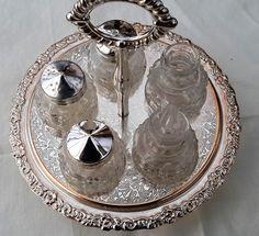 Cruet set, silver metal, five piece glass cruet, carousel, vintage condiment set, Salt and Pepper, mustard, oil and vinegar by NanaBarbarastreasure on Etsy
