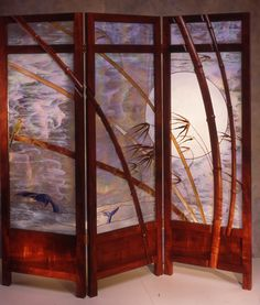 Glass and wood Shoji screen by William Poulson