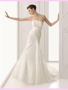 White Mermaid Beading Chiffon Wedding Dress