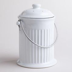 White Ceramic Compost Bucket. It doesn't have to be this one, there are some on Amazon and other places too. Just want it small enough to go under the sink.