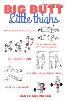 Don& want big legs, but want to grow your butt? Big Booty - Little Thighs Glute workout exercises! Dont Build Legs just build glutes! Thigh Exercises, Workout Exercises, Butt Workouts, Fitness Workouts, 16 Week Workout, Workout Schedule, Workout Guide, Workout Plans, Thin Thighs