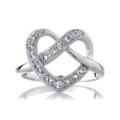 Sterling Silver Twisted Heart Promise Ring