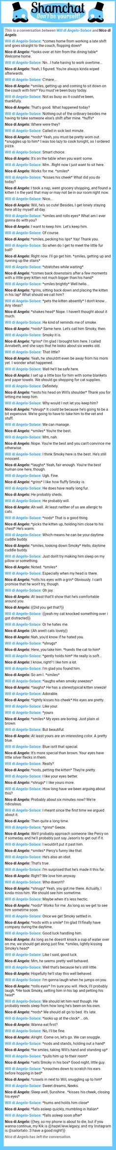 A conversation between Nico di Angelo and Will di Angelo-Solace