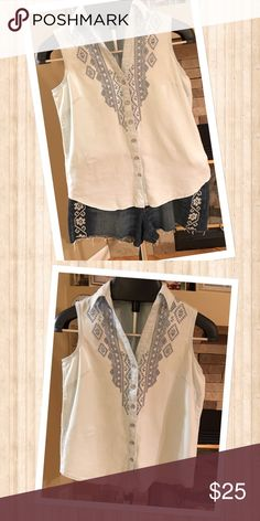 Vintage Denim Shirt Aztec embroidered detailed denim sleeveless shirt.  New with tags.  Feels great on, very comfortable !  Make an offer!!! Vintage America Blues Tops