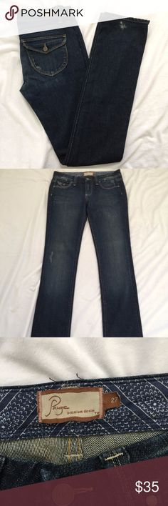 Paige Premium Jeans Pico 5 Pocket Bootcut Denim 27 Has distress from wear at the left thigh and bottom hem. See details in photos. Measurements are approximate:  Waist - 13.5 Length - 42 Inseam - 35 Leg Opening - 6.25 Rise - 8 Hips - 16 PAIGE Jeans Boot Cut