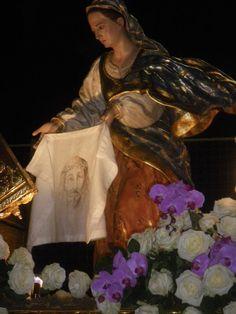 Paño de la Verónica que ha procesionado el Viernes de Dolores en la Procesión del Cristo del Amparo de Murcia