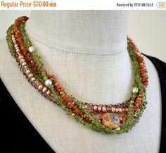 SALE Earthy multi layer necklace Gemstone nugget necklace Multi strand green peridot, rust sunstone, pearl Semi precious stone jewelry