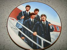 This plate shows The Beatles arriving at JFK Airport on Feb 7, 1964. I gave this to my daughter, Courtney, for her birthday... 2/7/85.