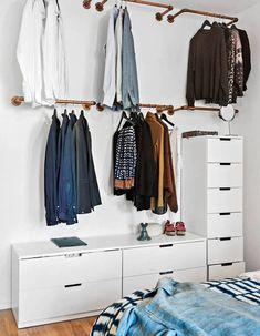 Wardrobe Racks, Clothing Wardrobes Walmart Wardrobe Wall Mounted Brass Clothing Rack Wite Lacquered Dresser With Many Drawer: inspiring clothing wardrobes. Such a guys place! Walmart Wardrobe, Wardrobe Wall, Open Wardrobe, Diy Wardrobe, Hanging Wardrobe, White Wardrobe, Hanging Closet, Simple Wardrobe, Capsule Wardrobe