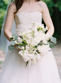 white bouquet with a big satin bow | Ali Harper