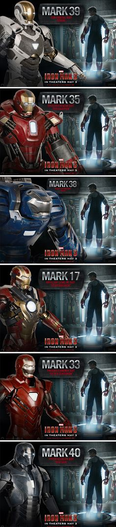 We've rounded up all of the new cool Iron Man 3 suits into one image.