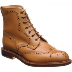 7a3a211eea36b5 Alfred Sargent Howard brogue boots in acorn calf from Herring Shoes