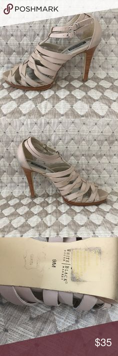WHBM Spike Sandals Ankle Straps 9 M Taupe colored strapy sandals on spike heels White House Black Market Shoes Heels