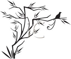 iCLIPART - Silhouette Clipart Image of a Bird Sitting on a Tree  zentangle