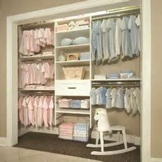 We don't need the rocking horse but what a neat closet for the twins