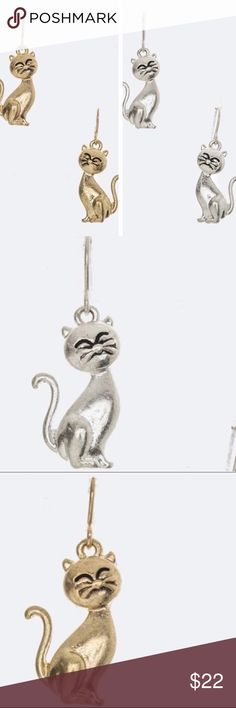 💕COMING SOON💕 Kitty Cat Earrings I have these adorable cat earrings available!l in your choice of gold or silver!!! These are fun for daytime or nighttime looks. Great gift for the cat lover in your life! 🐈 October Love Jewelry Earrings