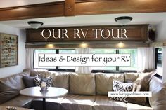 Check out our RV Tour and see how this family of 5 live and travel.in an RV. Complete with some minor mods, our fifth wheel combines function with class. 5th Wheel Camper, Fifth Wheel Campers, Fifth Wheel Trailers, Travel Trailer Interior, Rv Interior, Rv Redo, Rv Trailers, Travel Trailers, Camper Renovation