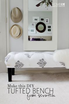 How to Make a DIY Tufted Bench from Scratch could even top it with a fabric bench, Girls Bedroom, Diy Bedroom, Bench For Bedroom, Master Bedroom, Bedrooms, Bedroom Office, Bedroom Furniture, Home Furniture, Furniture Dolly