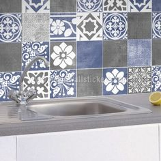 Vogue Blue Wall Tile Stickers