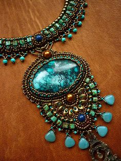 Relax -Necklace Bead Embroidery Art  with Turquoise.