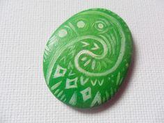 Hand painted pebble inspired by Disney Moana Heart of Te Fiti stone #Miniature