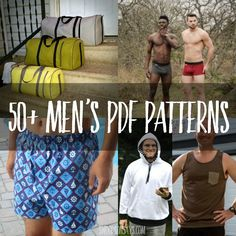 A huge list of men's sewing patterns. Over 100 ideas for things to sew for men, gifts to sew for men, including free sewing patterns for men! Mens Sewing Patterns, Sewing Men, Sewing Tutorials, Free Sewing, Pdf Patterns, Sewing Ideas, Pattern Sewing, Pants Pattern, Clothes Patterns