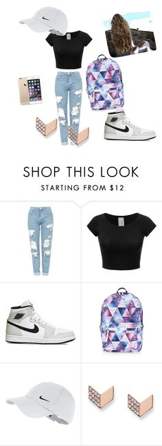 """""""school💀🚬"""" by samanthaarogerss ❤ liked on Polyvore featuring Topshop, NIKE, Accessorize, FOSSIL and printedshorts"""