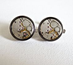 You are looking at a pair of beautiful hand crafted watch movement cufflinks. ** THE GEARS ACTUALLY WORK WHEN IT'S WOUND ** It's a very elegant classy gift for any occasion. Groom And Groomsmen, Gentleman, Watch Cufflinks, Steampunk Wedding, Beautiful Hands, Classy, Watches, Gifts, Wedding 2017